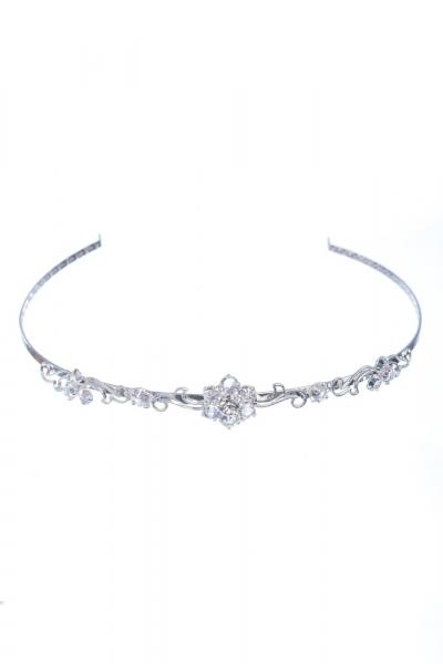 svatební čelenka krystal / stříbro