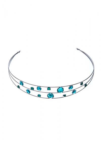 čelenka emerald + blue zirkon / paladium