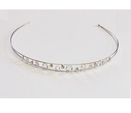 wedding tiara, crystal / silver