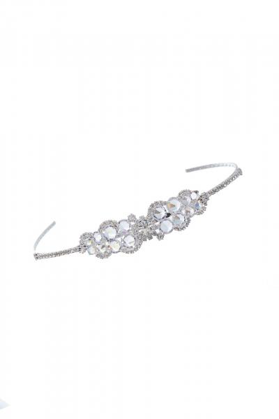 svatební čelenka, krystal / stříbro
