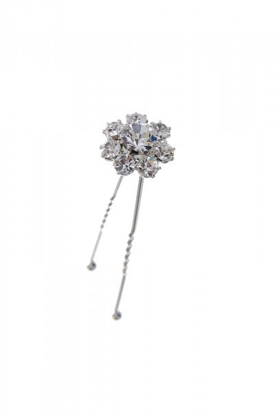 bun pin crystal / silver