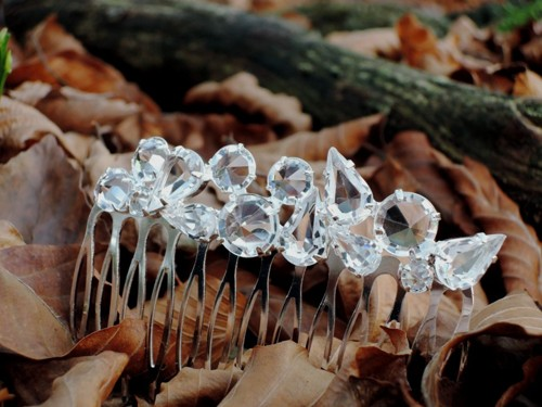Hair comb crystal / silver