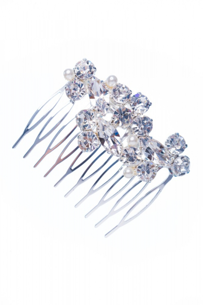 Vlasový hřebínek, šanel / bílé perle / stříbro