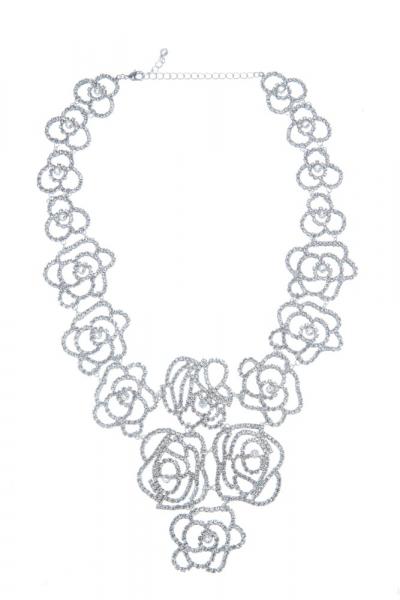 Výrazný štrasový náhrdelník, krystal