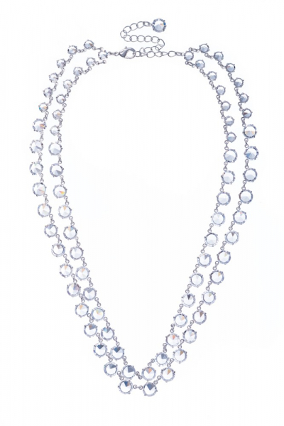 necklace made from clear machine cut rhinestones