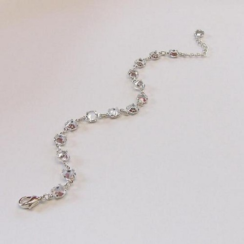 elegant bracelet made of clear crystals, silver plated