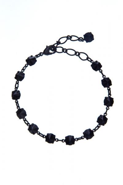 Náramek z českých broušených kamenů - černá jet