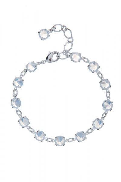 Elegant bracelet made of clear crystals, silver