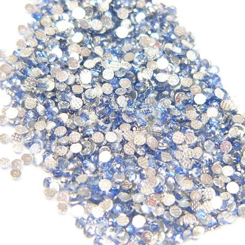 hotfix extra roses - iron on, 144pcs,  2 mm, light sapphire