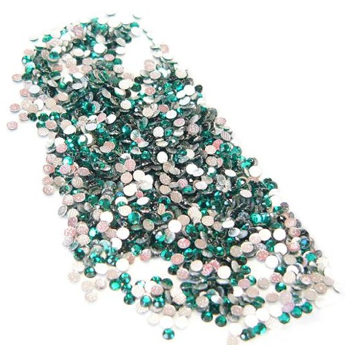 hotfix extra roses - iron on, 144pcs,  2 mm, emerald