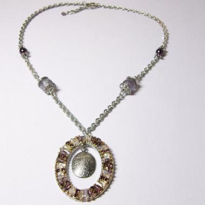 náhrdelník, starostříbro, ametyst/krystal