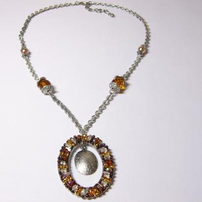 náhrdelník, starostříbro, topaz/krystal
