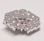 štrasový knoflík, galvanizace: stříbro