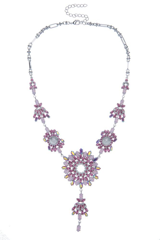 Luxusní náhrdelník z českých broušených kamenů, rhodiový pokov
