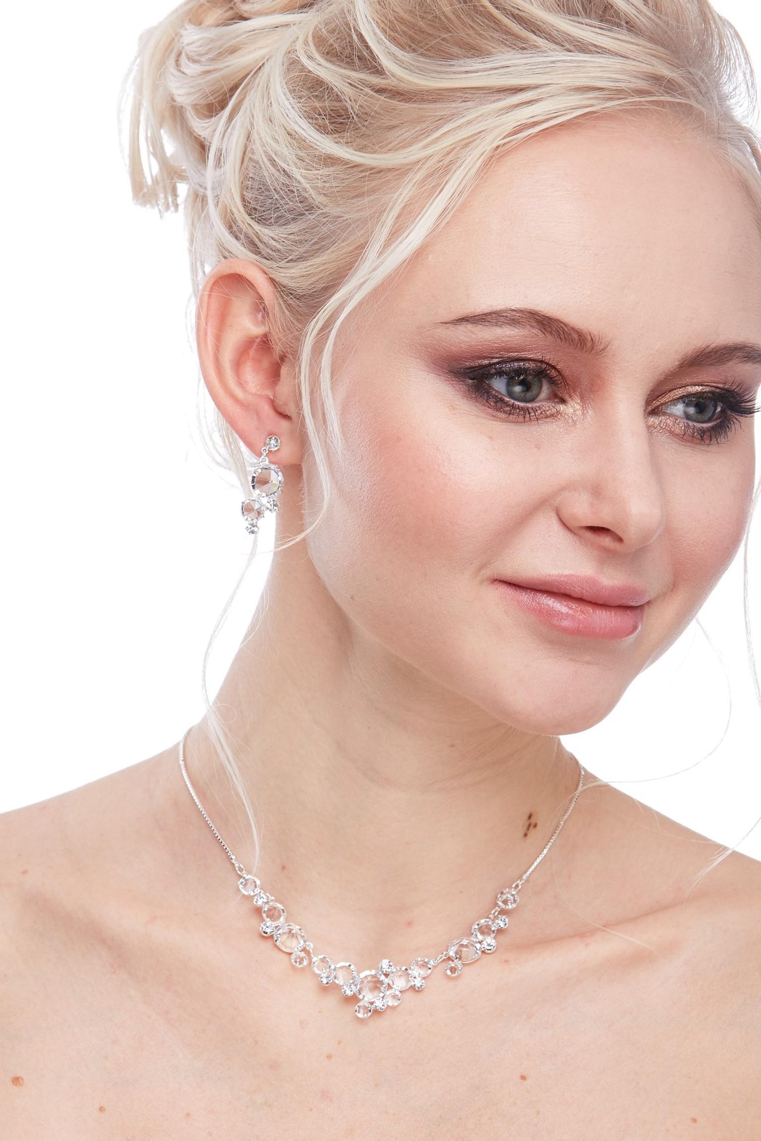 Křišťálový náhrdelník, stříbrná galvanizace