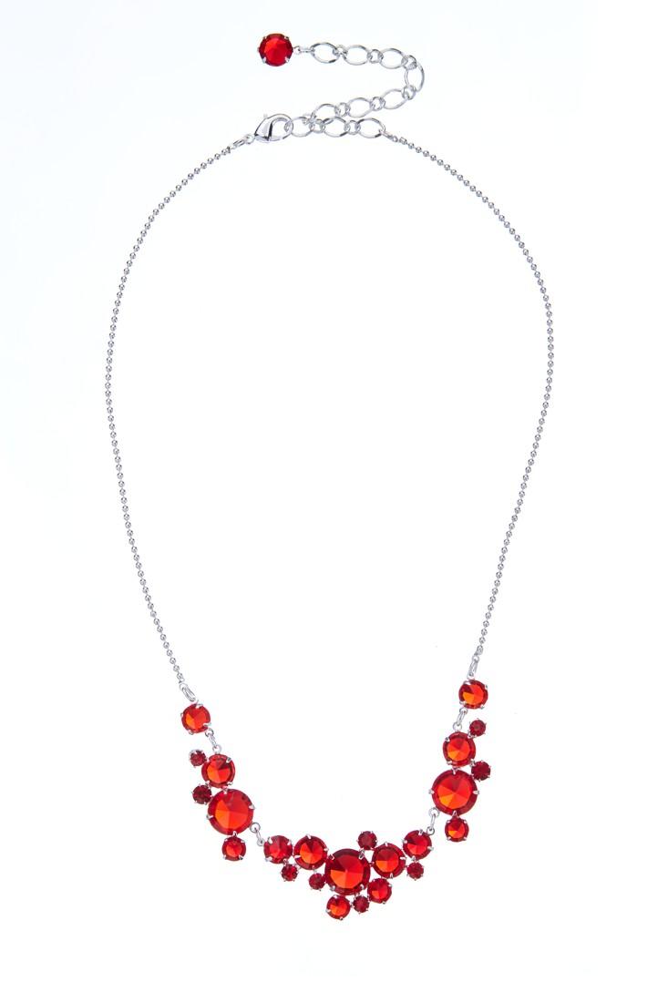 elegantní křišťálový náhrdelník, stříbrná galvanizace