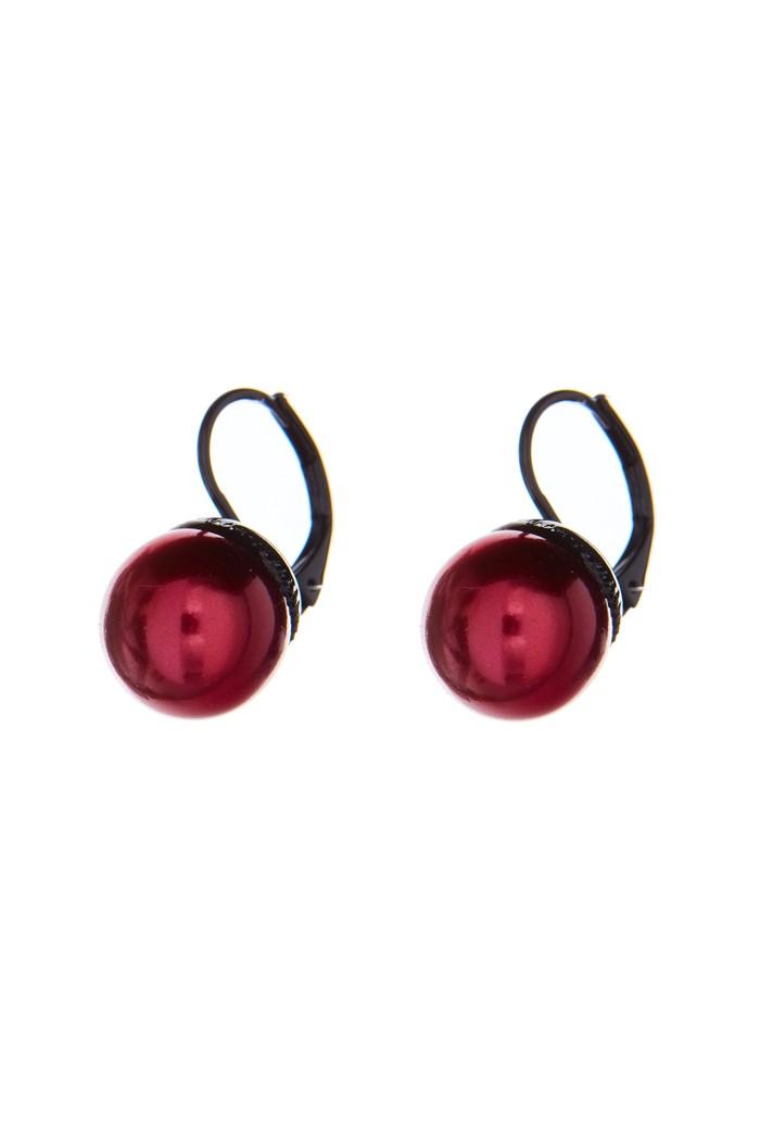 elegantní náušnice s perličkou, jet / černá galvanizace