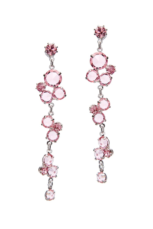 Visací náušnice, růžové krystaly
