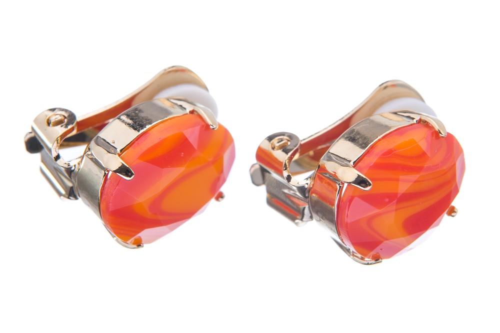 Náušnice klips se speciálním kamenem, oranžovo-červené