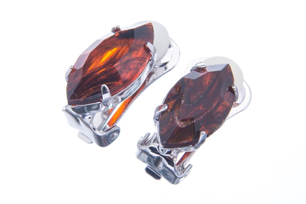 Náušnice se speciálním kamenem, žíhaná burgunda
