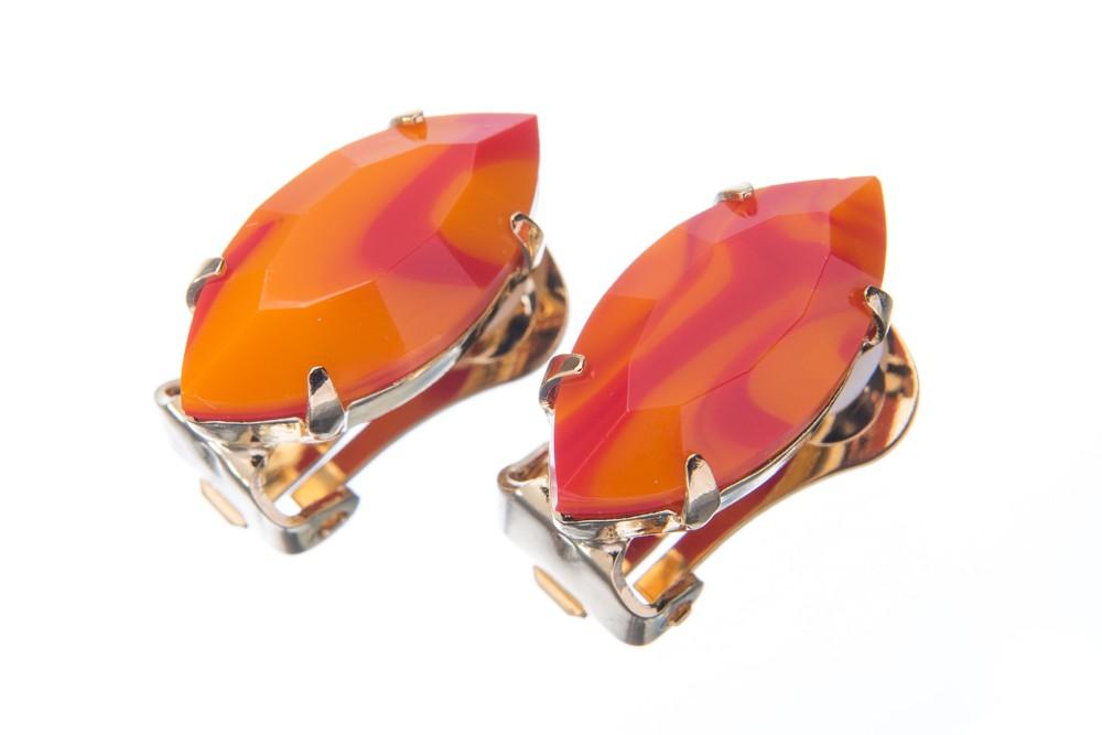 Náušnice se speciálním kamenem, oranžovo-červené