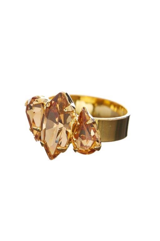 Prsten – topazové krystaly