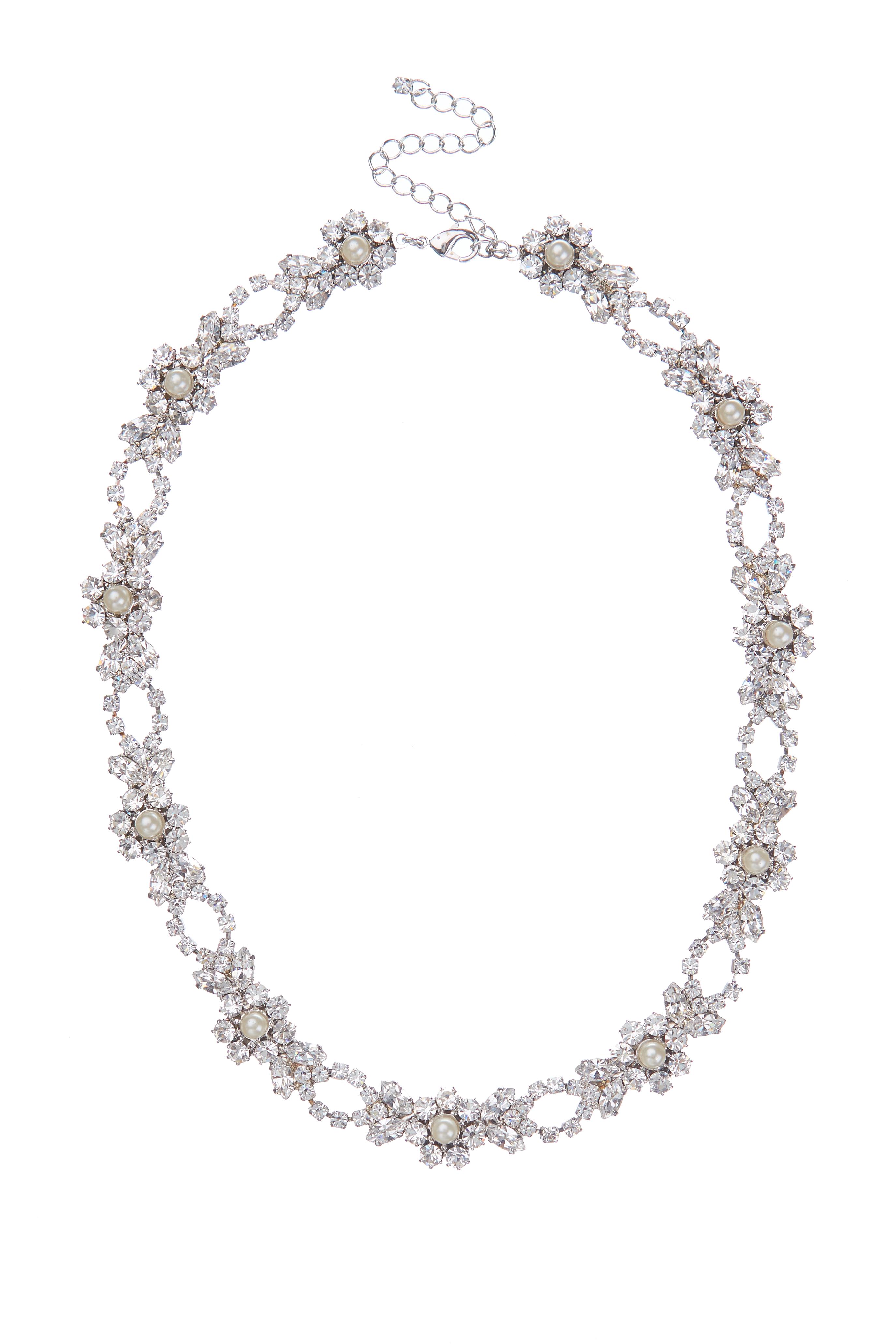 Bohatý štrasový náhrdleník s perličkami